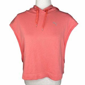 Puma Cropped Muscle Hoodie Coral Pink Reflective